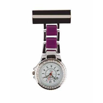 Two Tone Diamanté Metal Fob Watch with Sparkle Dial
