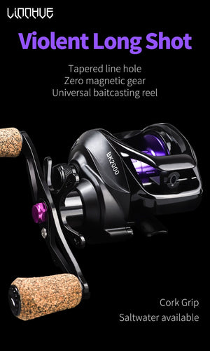 LINNHUE Baitcasting Reel BK2000 Fishing Reel 7.2: 1 Alta Velocidade 5.5KG Max Drag Sistema magnético Wood Handle SaltWater Reel Fishing