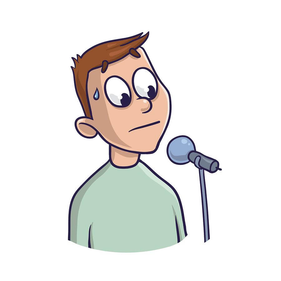 man with fear of public speaking