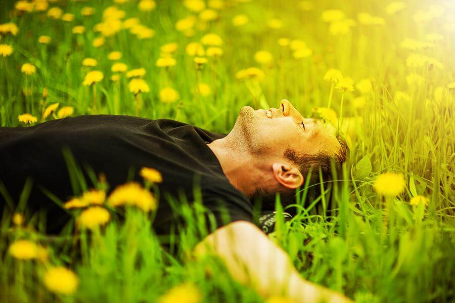 man relaxing in a field of grass and dandelions