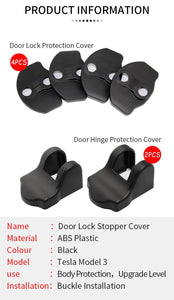 Tesla Model 3 Model Y Accessories Door Lock Latches Covers Rustproof Door Stopper Covers Set of 6 Fits Tesla Model 3 2017-2020