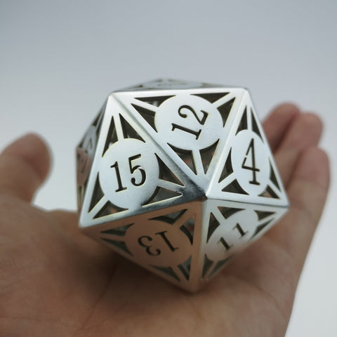 Giant Hollow Metal Dice D20 Silver Finish
