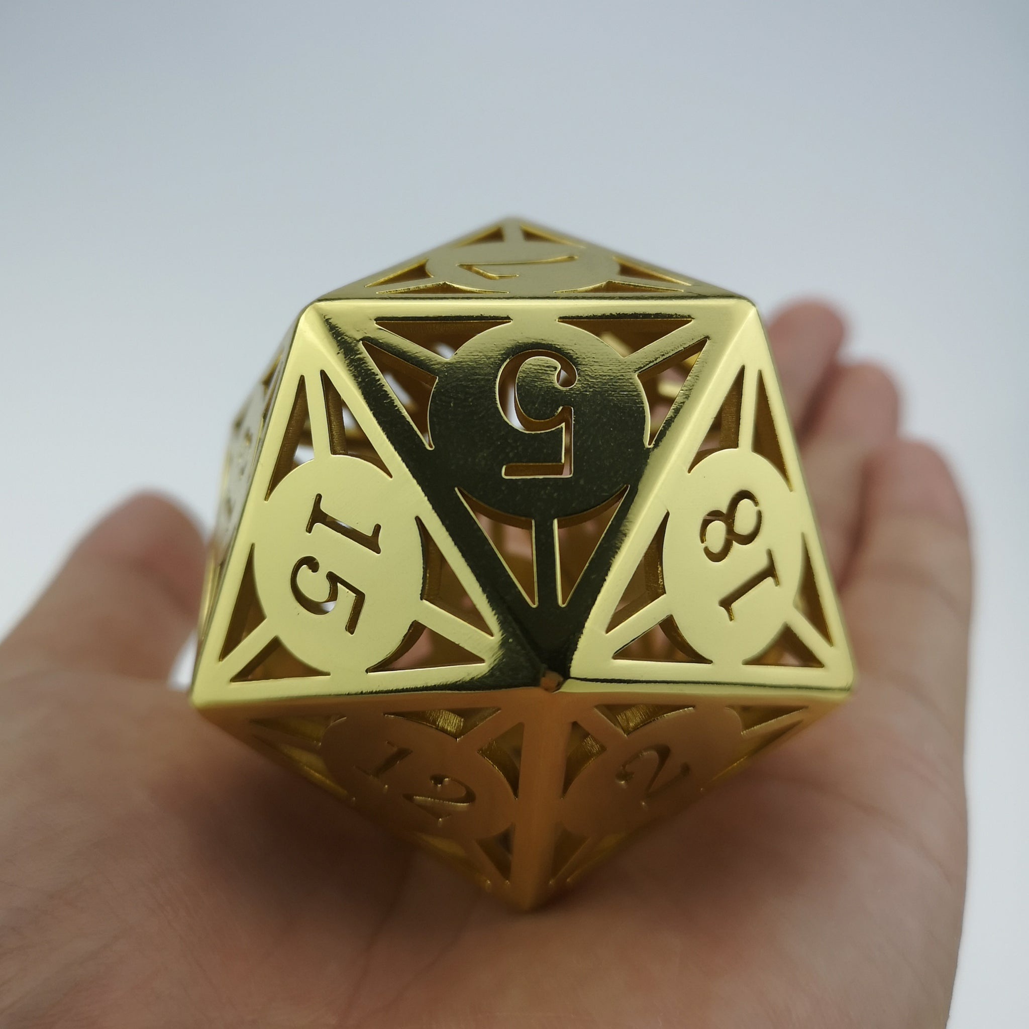 Gold Finish Giant Hollow Metal Dice D20
