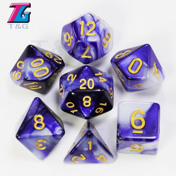 7pcs Polyhedral Promotion  2-color Dice Set Nebula Effect with bag