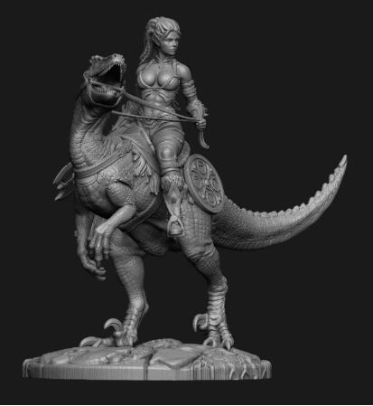Ancient Fantasy Woman Warrior and Dinosaur Resin miniature