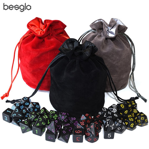 Opaque Black Polyhedral Dice 6 Sets and Drawstring Velvet Pouch