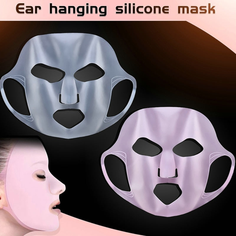 Silicone Face Mask  Reusable Moisturizing Lifting Firming Anti Wrinkle V Shape  Face Firming Gel Sheet Mask Ear Fixed Skin Care