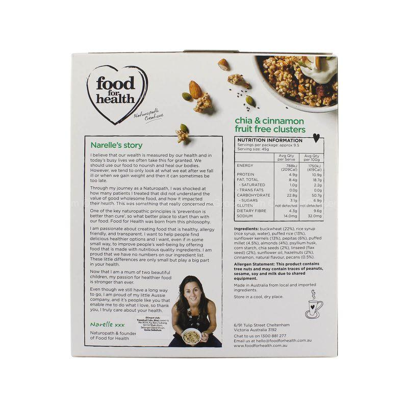 Food for Health Chia & Cinnamon Fruit Free Clusters 425g