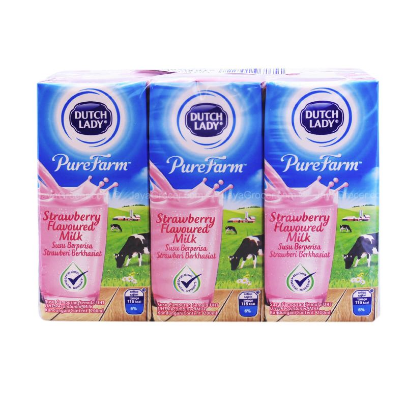 Dutch Lady Pure Farm Strawberry UHT Milk 200ml x 6