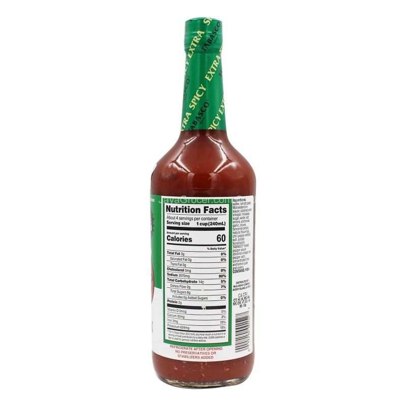 Tabasco Tomato Cocktail Bloody Mary Mix Extra Spicy 946ml