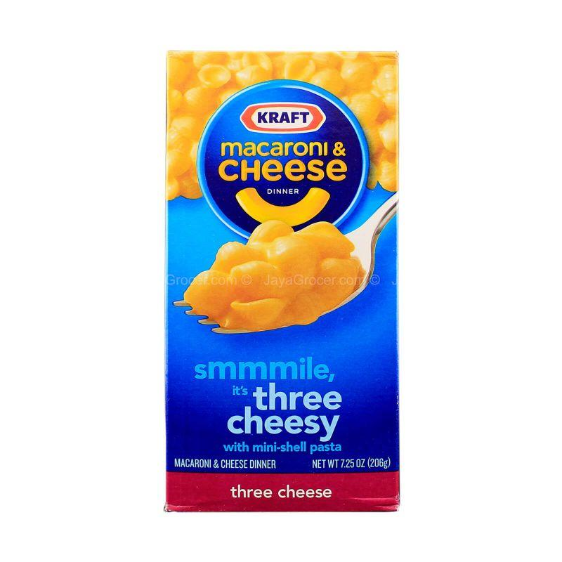 Kraft Macaroni & Cheese Dinner Three Cheese Flavour Mini-Shell Pasta 206g