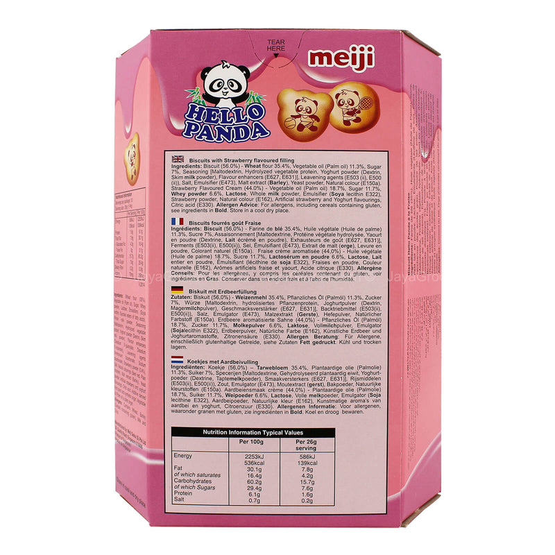 Meiji Hello Panda Biscuits with Strawberry Flavoured Filling 26g x 10