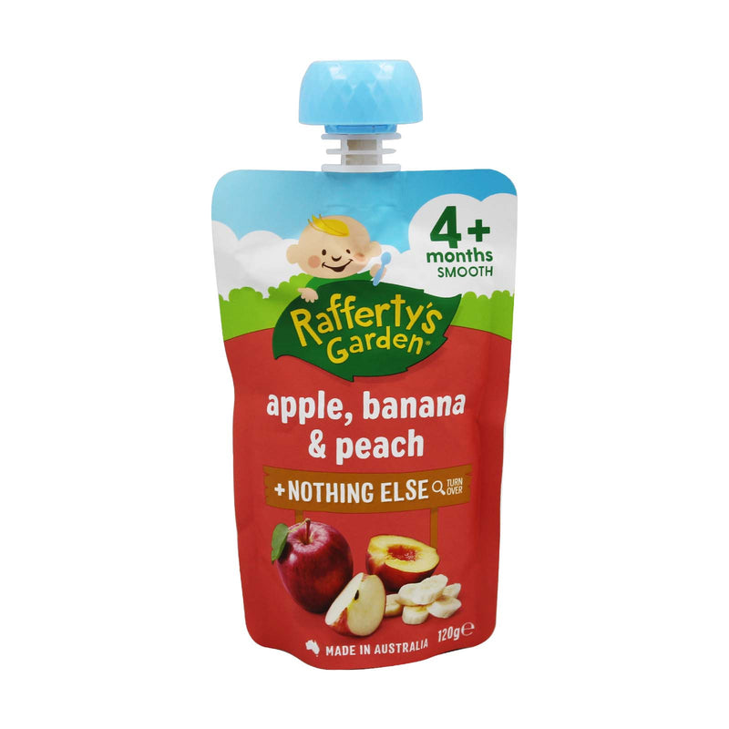 Rafferty's Garden Apple, Banana and Peach + Nothing Else Smooth Baby Food (4+ Months) 120g