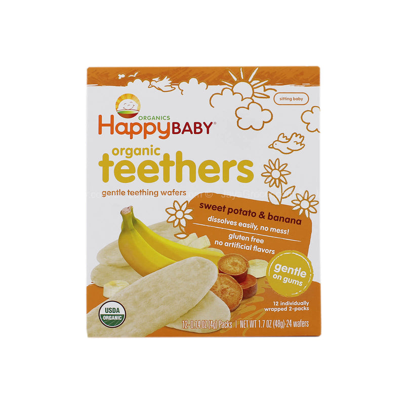Happy Baby Organic Teethers Gentle Teething Wafers Sweet Potato and Banana Flavor 48g