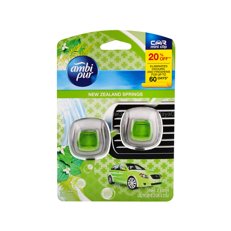Ambi Pur New Zealand Springs Car Mini Clip Fragrance 2ml x 2