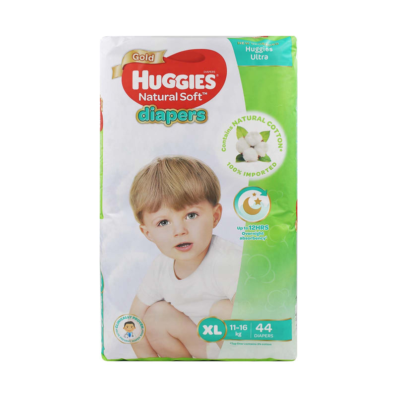 Huggies Gold Natural Soft XL Baby Diapers (11-16kg) 44pcs
