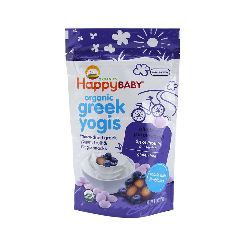 Happy Baby Organic Yogis Freeze-Dried Greek Yogurt, Fruit & Veggie Snacks 28g