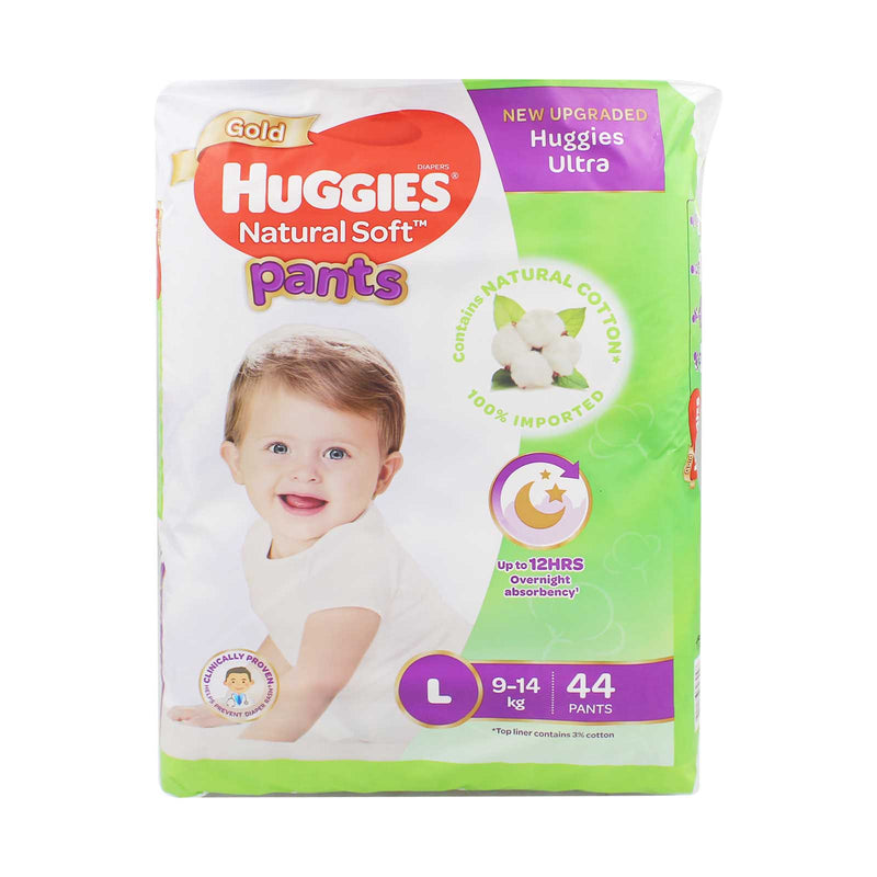 Huggies Gold Natural Soft Pants L Baby Diapers 44pcs