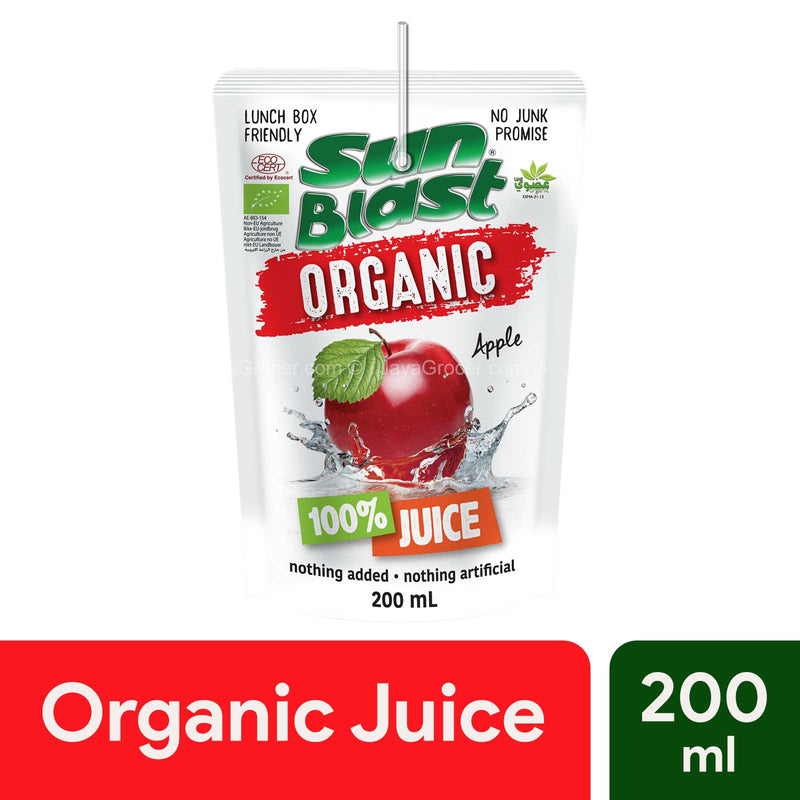 Sun Blast Organic 100% Juice Apple 200ml