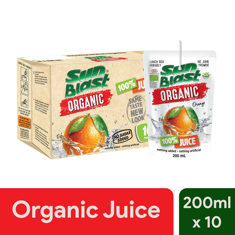 Sun Blast Organic 100% Juice Orange 200ml