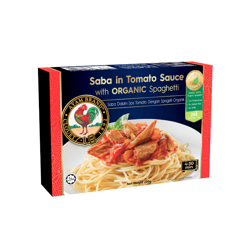 Ayam Brand Saba in Tomato Sauce with Organic Spaghetti Frozen Meal