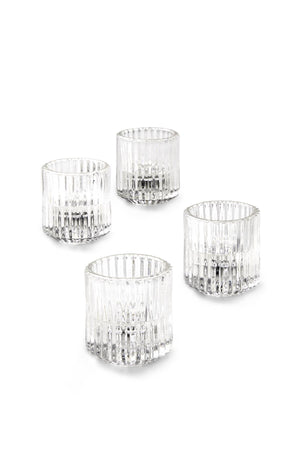 "Serene Spaces Living Set of 4 Ribbed Glass Votive Holders, Perfect for Weddings and Home Décor, Measures 2.25"" Tall and 2"" Diameter"
