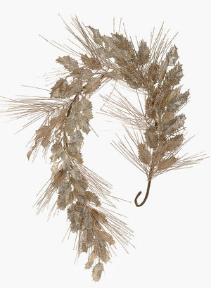 "Serene Spaces Living Light Copper and Champagne Glitter Holly Garland, Ornament for Holiday Décor, Measures 54"" Long"
