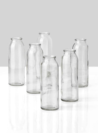 "Serene Spaces Living Clear Glass Bud Vases, Set of 6, Ideal for Tablescape at Weddings, Events, Measures 6.25"" Tall and 2"" Diameter"