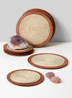 "Serene Spaces Living Natural Raffia Coasters with Wood Edge, Set of 6, Measures 8.5"" Diameter"