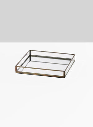 "Serene Spaces Living Square Glass Tray with Antique Gold Frame, Measures 8.25"" Length, 8.25"" Width and 1.25"" Tall"