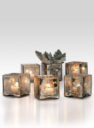 "Serene Spaces Living 3"" Silver Glass Cube, Handmade Mercury Glass Finish & Vintage Style, Set of 6 or 48"