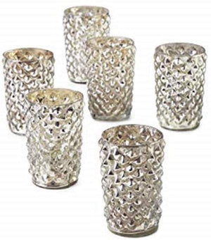 Antique Silver Diamond Votive Holder, Set of 6