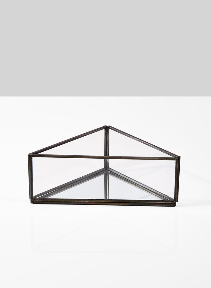 "Serene Spaces Living Triangular Glass Tray with Burnt Antique Gold Frame, Measures 8"" Length, 4.5"" Width and 3"" Tall"