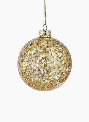 "Serene Spaces Living Hanging Gold Paillette Inside Glass Ball, Ornament for Holiday Decor, Set of 6, Measures 3"" Diameter"