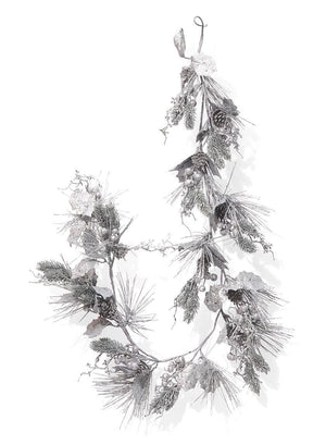 Serene Spaces Living 5ft Decorative Silver Glitter Holly, Berry & Pine Garland, Perfect for Christmas Décor