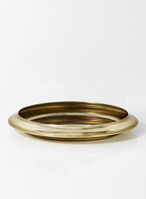"Serene Spaces Living Modern Shiny Gold Handi Bowl, Large Size, Ideal for Wedding, Event, Building Lobby, Measures 18"" in Diameter, 2.5"" Tall"