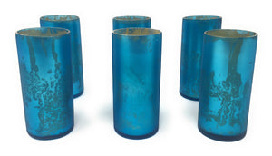 Frosted Teal Mercury Votives, Set of 6