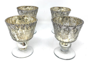 Antique Silver Coupe Candleholder, Set Of 4