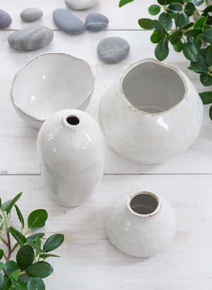 Serene Spaces Living Free-Form Glazed Ceramic Vase, Centerpiece for Vintage Weddings, Events, Available in 2 Shapes
