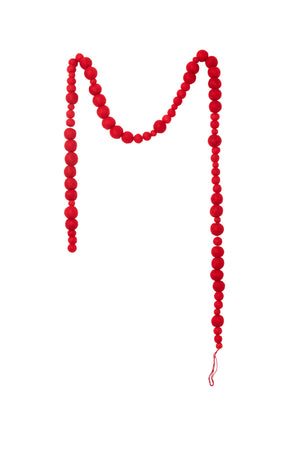 "Serene Spaces Living Red Felt Ball Garland, Ornament for Holiday Décor, Measures 58"" Long and 1"" Diameter"