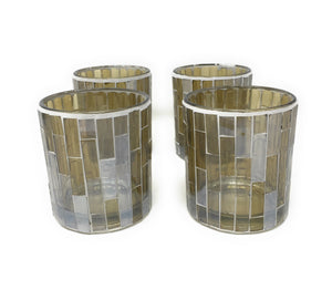 Mosaic Glass Tile Votive Holders, Set of 4