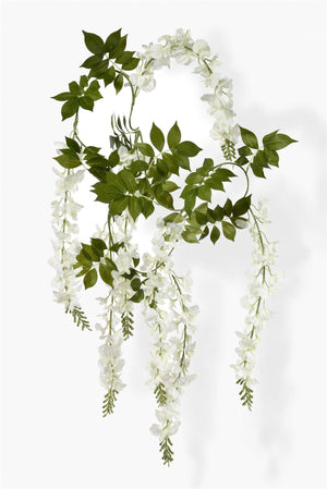 "Serene Spaces Living White Wisteria Vine Hanging Garland , Measures 78"" Tall"