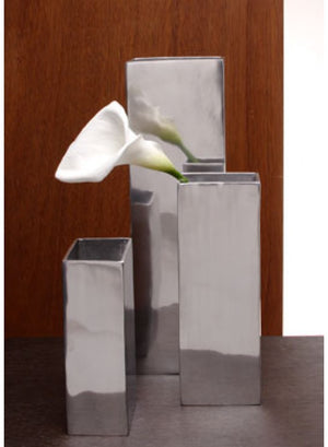 Oversized Silver Rectangle Vases