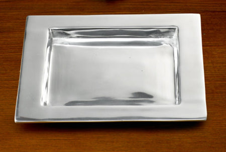Serene Spaces Living Set of Large Antique Silver Cylinder & Square Aluminum Tray