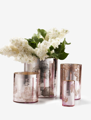 Serene Spaces Living Antique Pink Glass Cylinders