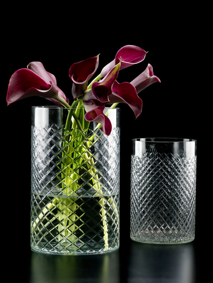 Serene Spaces Living High Cut Glass Squares Cylinder Vases