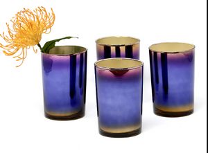 "Serene Spaces Living Colorful Oxidized Glass Vase, Ideal as Accents on Bars, Set of 4, Each Measures 4.25"" Tall and 3"" Diameter"