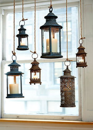 Antiqued Blue and Rust Lanterns