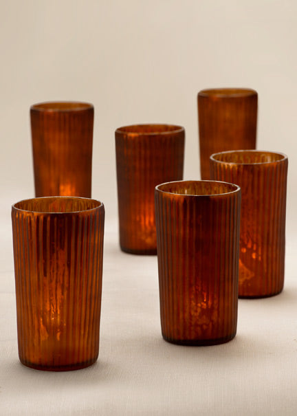Amber Frost Mercury Votive Holders, Set of 4