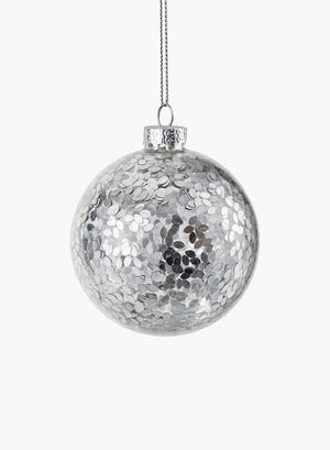 "Serene Spaces Living Hanging Silver Paillette Inside Glass Ball, Ornament for Holiday Decor, Set of 6, Measures 3"" Diameter"